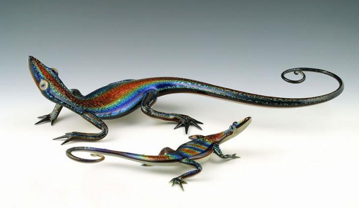 escultura vidrio soplado scott bisson lagartija