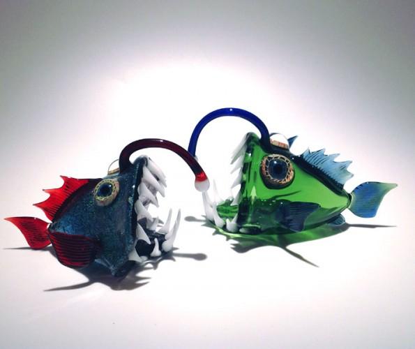 escultura vidrio soplado scott bisson peces