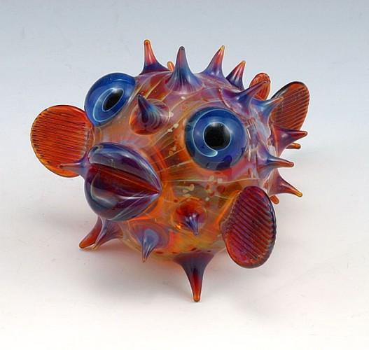 escultura vidrio soplado scott bisson pez globo