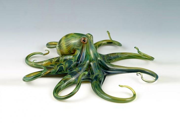 esculturas de vidrio soplado a mano por scott bisson pulpo