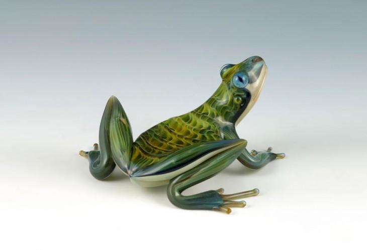 escultura vidrio soplado scott bisson rana verde