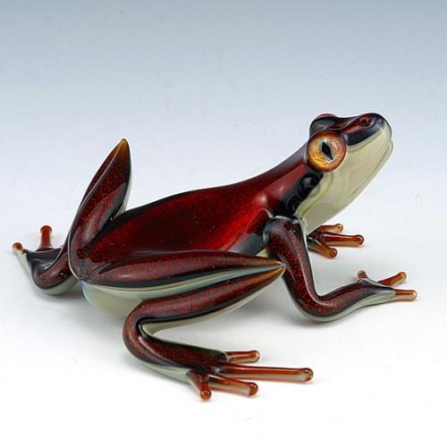 escultura vidrio soplado scott bisson rana roja