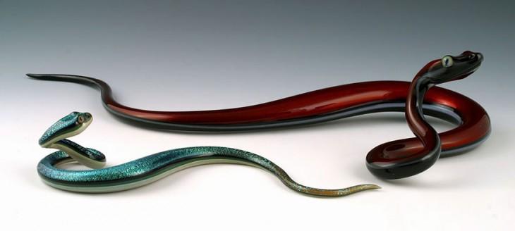 escultura vidrio soplado scott bisson serpiente