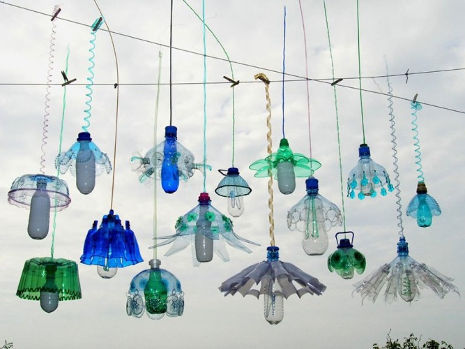 decoracion con botellas recicladas