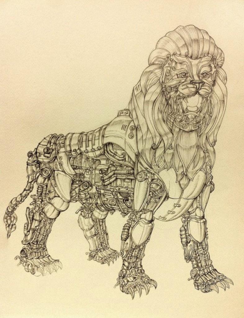 leon mecanico a boligrafo por marco ryan