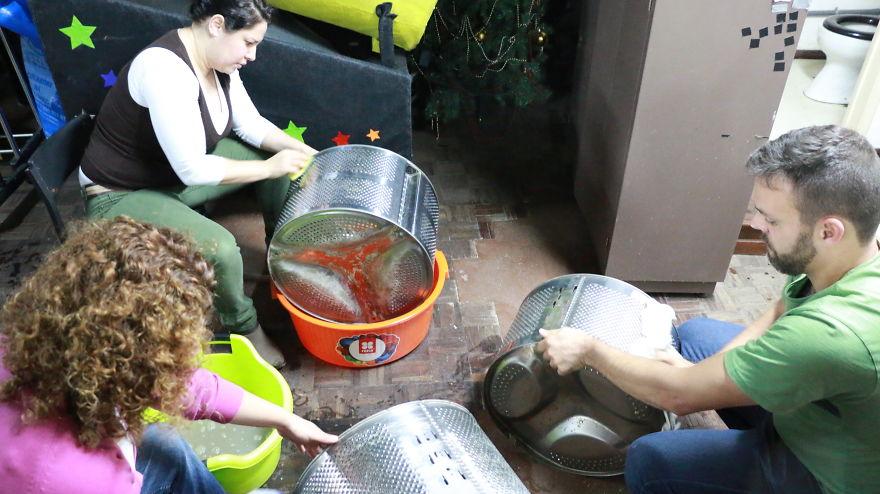 reciclado y limpieza de tambores de lavadoras para alumbrado